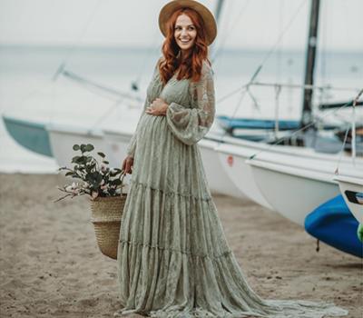 Bohemian-Lace-Maternity-Dress