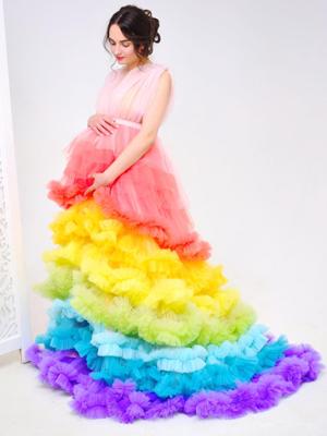 Rainbow-Maternity-Dress